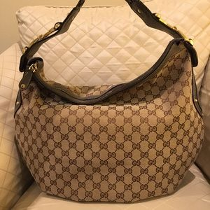 AUTH NEW Gucci vintage canvas print hobo bag